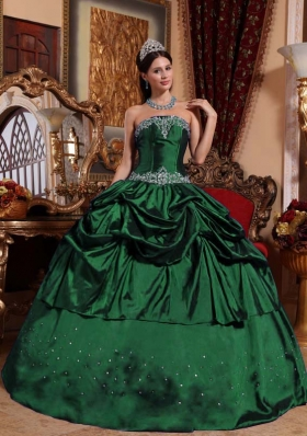 Discount Dark Green Ball Gown Strapless 2014 Quinceanera Dresses with Beading