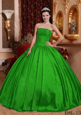Discount Puffy Ball Gown Strapless Appliques Quinceanera Dresses with Beading
