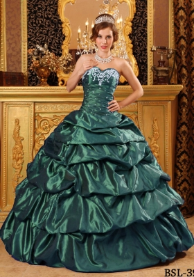 Fashionable Puffy Sweetheart Quinceanera Dresses with Appliques Green
