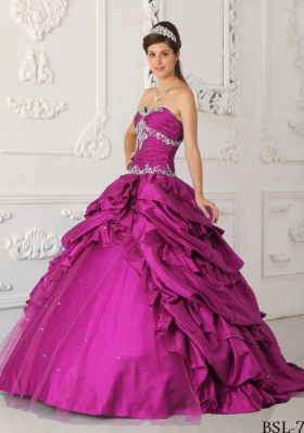 Fuchsia A-Line Sweetheart Taffeta and Tulle Quinceanera Dress with Appliques