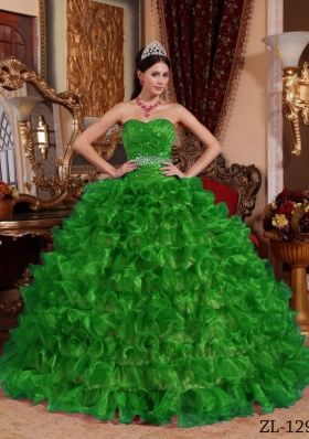 Green Ball Gown Sweetheart Quinceanera Dress with 2014 Beading