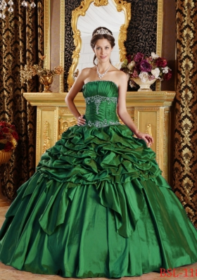 Green Puffy StraplessQuinceanera Dresses with Pick-ups Taffeta