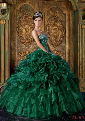 Luxurious Ball Gown Strapless Green 2014 Quinceanera Dress with Ruffles