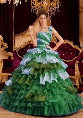 Perfect Princess One Shoulder Quinceanera Dresses with  Ruffles