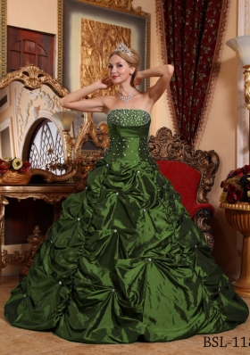 Simple Dark Green A-line Strapless Quinceanera Gowns with Beading