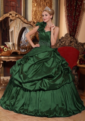 Simple Green One Shoulder Puffy Quinceanera Dresses with Beading