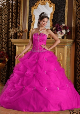 Strapless Appliques and Pick-ups Tulle Quinceanera Dress in Fuchsia