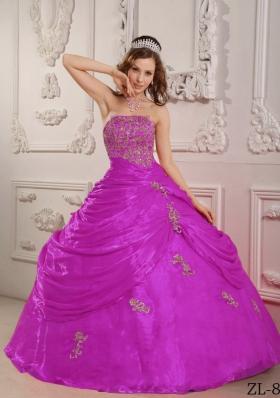 Strapless Fuchsia Organza Appliques Decorate Quinceanera Dress