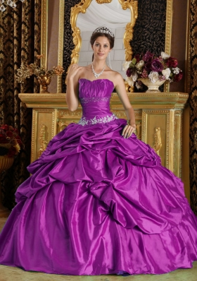 Strapless Taffeta Beading and Appliques Quinceanera Dress in Fuchsia