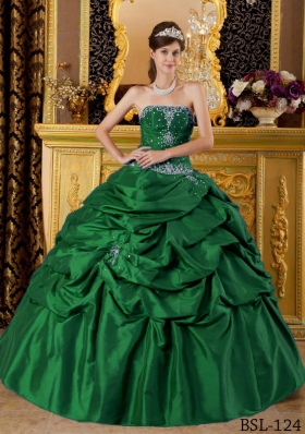 2014 Dark Green Ball Gown Strapless Quinceanera Dresses with Appliques