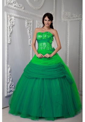 2014 Discount Green Sweetheart Quinceanea Dress with Tulle Ruching