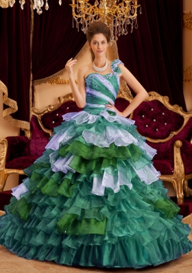 2014 Perfect Princess One Shoulder Quinceanera Dresses  with Ruffles