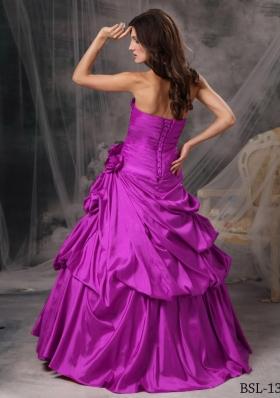 A-Line / Princess Strapless Floor-length Taffeta Beading Quinceanera Dress