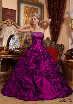A-line Fuchsia Strapless Taffeta Beading and Pick-ups Quinceanera Gowns