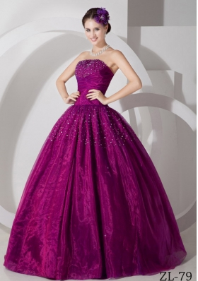 A-line Sweetheart Floor-length Tulle Ruch and Beading Prom Dress
