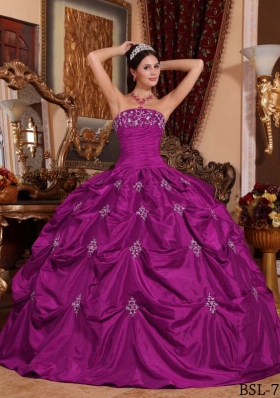 Appliques and Pick-ups Strapless Fuchsia Dress For Quinceanera