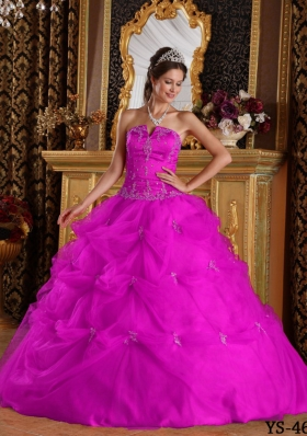 Appliques and Pick-ups Strapless Fuchsia Tulle Quinceanera Dress