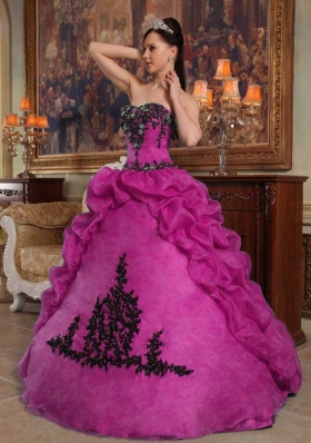 Appliques and Pick-ups Strapless Organza Fuchsia Dresses For a Quinceanera
