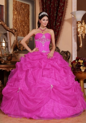 Appliques and Pick-ups Sweetheart Quinceanera Gowns in Fuchsia