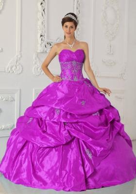 Appliques and Ruching Sweetheart Fuchsia Taffeta Sweet Sixteen Dresses