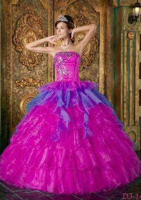 Appliques with Beading Organza Strapless Quinceanera Dress in Fuchsia