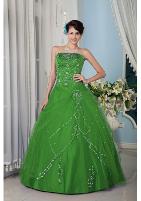 Cheap Green Princess Strapsless Quinceanera Dress with Tulle