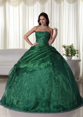 Dark Green Ball Gown Strapless Quinceanera Dress with  Beading and Embroidery
