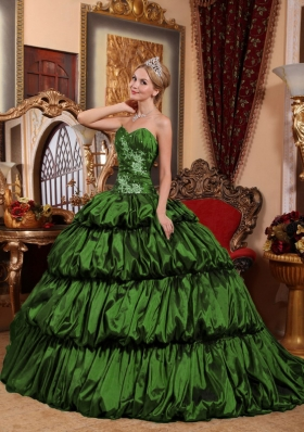 Dark Green Ball Gown Sweetheart Court Train Quinceanera Dresses with Appliques