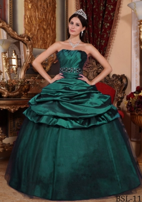 Dark Green Princess Puffy Strapless 2014 Quinceanera Dresses with Beading