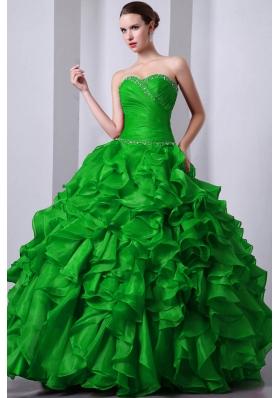 Dark Green Princess Sweetheart 2014 Quinceanea Dresses Beading Rufffles
