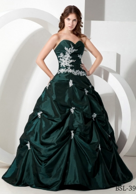 Elegant Dark Green Puffy  Sweetheart Quinceanera Dresses with Taffeta Appliques