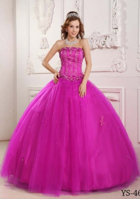 Elegant Strapless Tulle Fuchsia Quinceanera Dress with Appliuqes