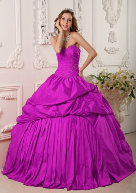 Exclusive Sweetheart Beading and Appliques Quinceanera Dress in Fuchsia