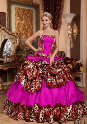 Fashionable Strapless Taffeta Pick-ups Quinceanera Dress with Leopard