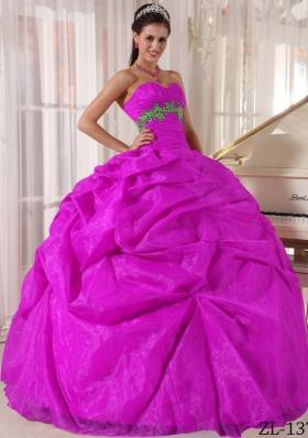 Fuchsia Ball Gown Sweetheart Floor-length Organza Appliques Quinceanera Dress