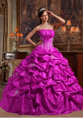 Fuchsia Strapless Appliques and Pick-ups Taffeta Dresses For a Quince