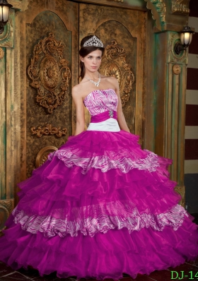 Fuchsia Strapless Organza and Zebra Quinceanera Gown with Ruffled Layers