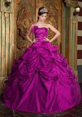 Fuchsia Strapless Taffeta Beading and Hand Made Flowers Sweet 15 Dresses