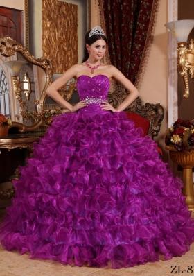 Fuchsia Sweetheart Organza Beaded Decorate Waist Quinceanera Dress