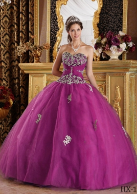 Fuchsia Sweetheart Tulle Quinceanera Gowns with White Appliques