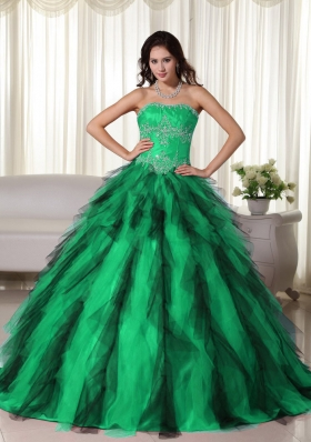 Green Ball Gown Strapless Green and Black Quinceanera Dress with Taffeta Appliques