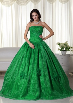 Green Ball Gown Strapless Organza Quinceanera Dress with  Beading and Embroidery