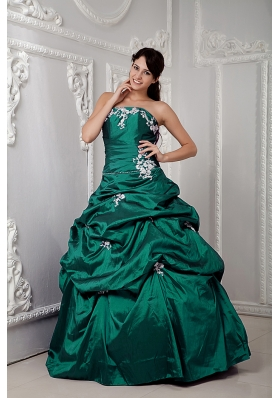Green Ball Gown Strapless Quinceanea Dress with Appliques and Pick-ups