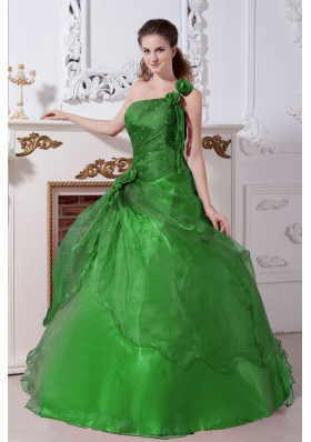 Green Princess One Shoulder Quinceanera Dresses with Beading
