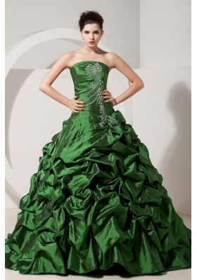 Green Princess Strapless Brush Tain Quinceanera Dresses with Taffeta Beading