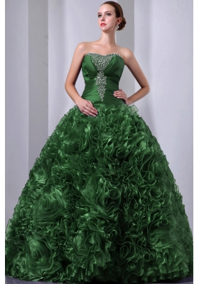 Green Princess Strapless  Organza Quinceanea Dress with Beading and Hand Made Flowers