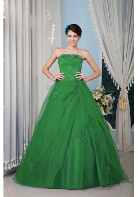 Green Princess Strapless Quinceanera Dress with Tulle Beading