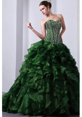 Green Princess Sweetheart Brush Train Organza Quinceanea Dress with Beading and Ruffles
