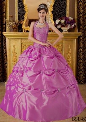 Halter Top Neck Taffeta Quinceanera Dress with Appliques and Pick-ups