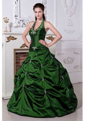 Hunter Green Princess Halter Quinceanera Dresses with Embriodery